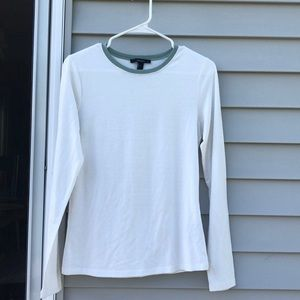 White Long Sleeve W/Teal Collar, F21, Size LG